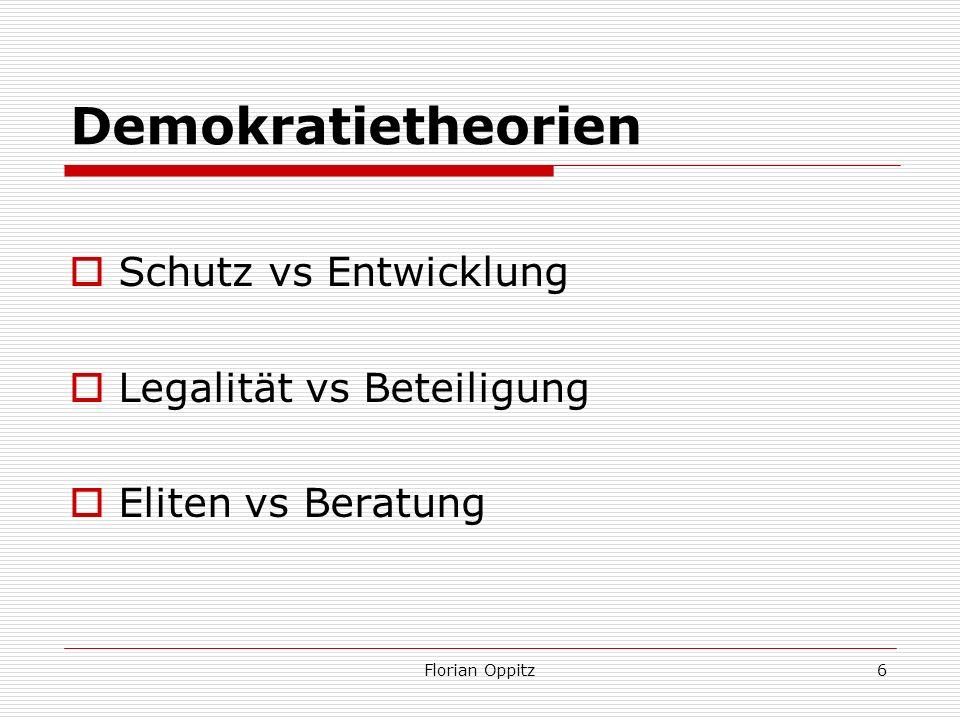 Demokratietheorien Schutz vs Entwicklung Legalität vs Beteiligung Eliten vs Beratung Florian Oppitz6
