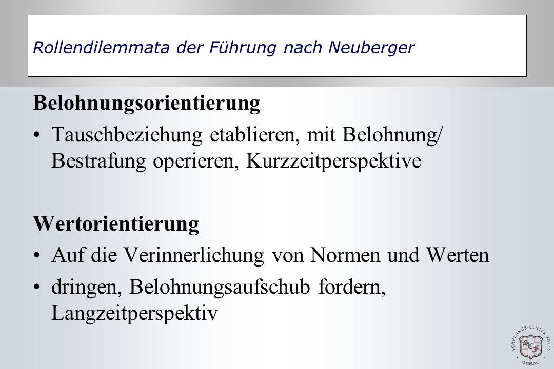 Rollendilemmata der Führung nach Neuberger Belohnungsorientierung Tauschbeziehung etablieren, mit Belohnung/ Bestrafung operieren, Kurzzeitperspektive