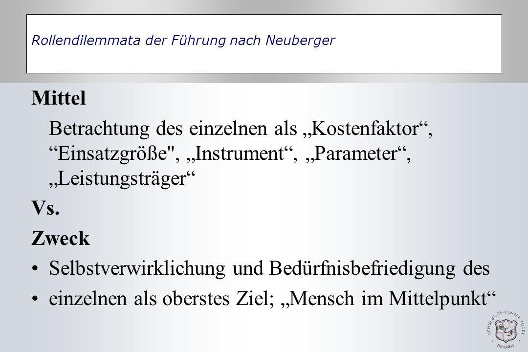 Rollendilemmata der Führung nach Neuberger Mittel Betrachtung des einzelnen als Kostenfaktor, Einsatzgröße , Instrument, Parameter, Leistungsträger Vs.