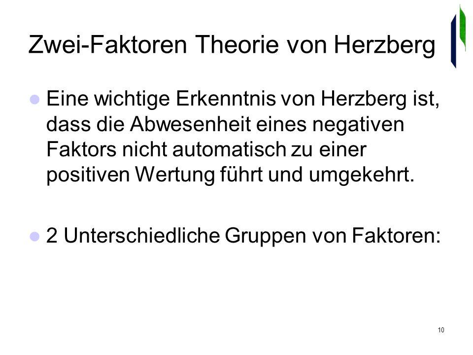 10 Zwei-Faktoren Theorie von Herzberg Eine wichtige Erkenntnis von Herzberg ist, dass die Abwesenheit eines negativen Faktors nicht automatisch zu einer positiven Wertung führt und umgekehrt.