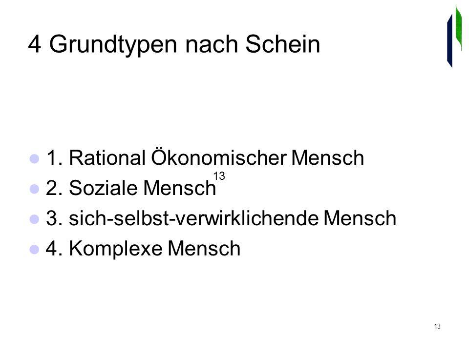 13 4 Grundtypen nach Schein 1. Rational Ökonomischer Mensch 2.