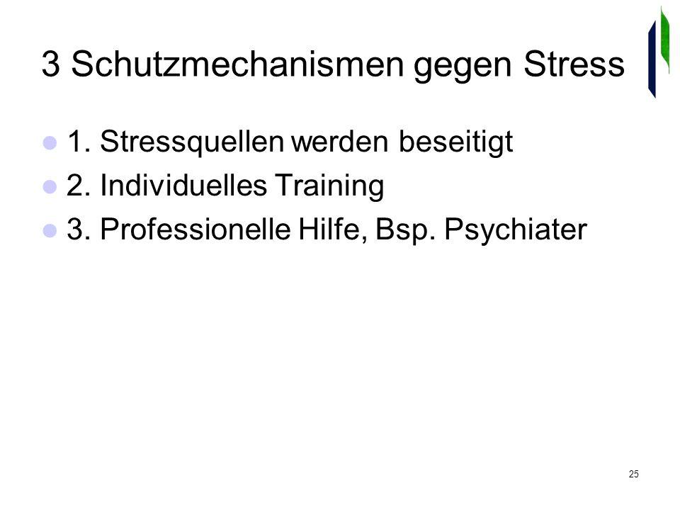 25 3 Schutzmechanismen gegen Stress 1. Stressquellen werden beseitigt 2.
