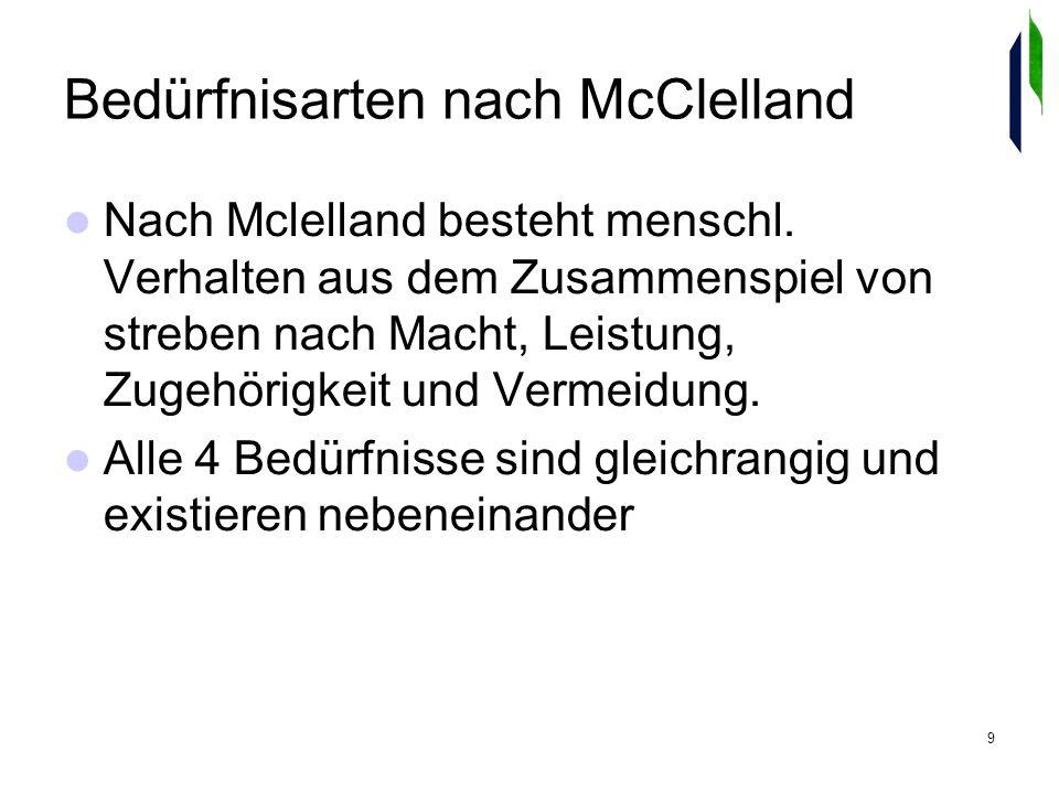 9 Bedürfnisarten nach McClelland Nach Mclelland besteht menschl.