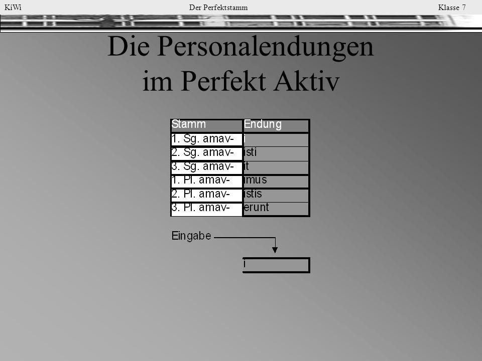 KiWi Der Perfektstamm Klasse 7 Die Personalendungen im Perfekt Aktiv