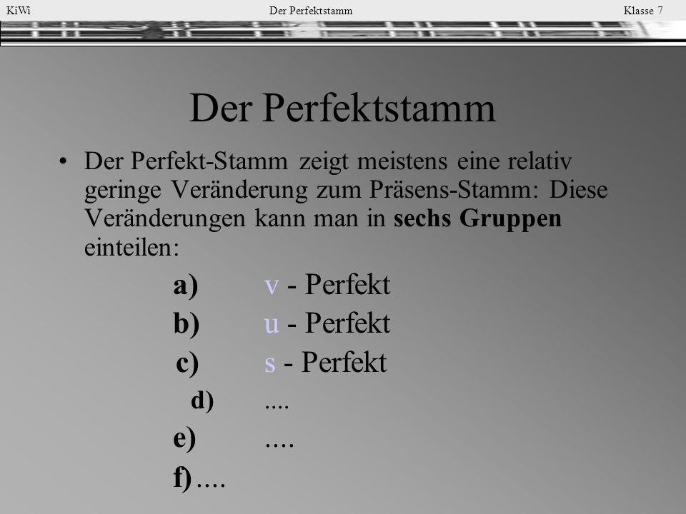 KiWi Der Perfektstamm Klasse 7 Drei Arten, den Perfektstamm zu bilden
