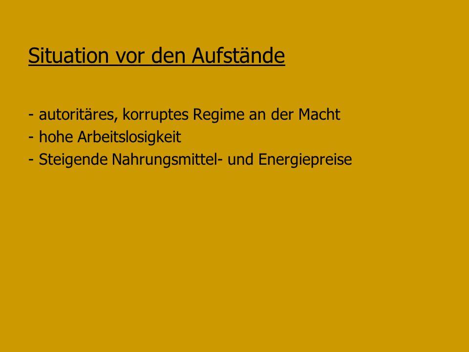 Situation vor den Aufstände - autoritäres, korruptes Regime an der Macht - hohe Arbeitslosigkeit - Steigende Nahrungsmittel- und Energiepreise