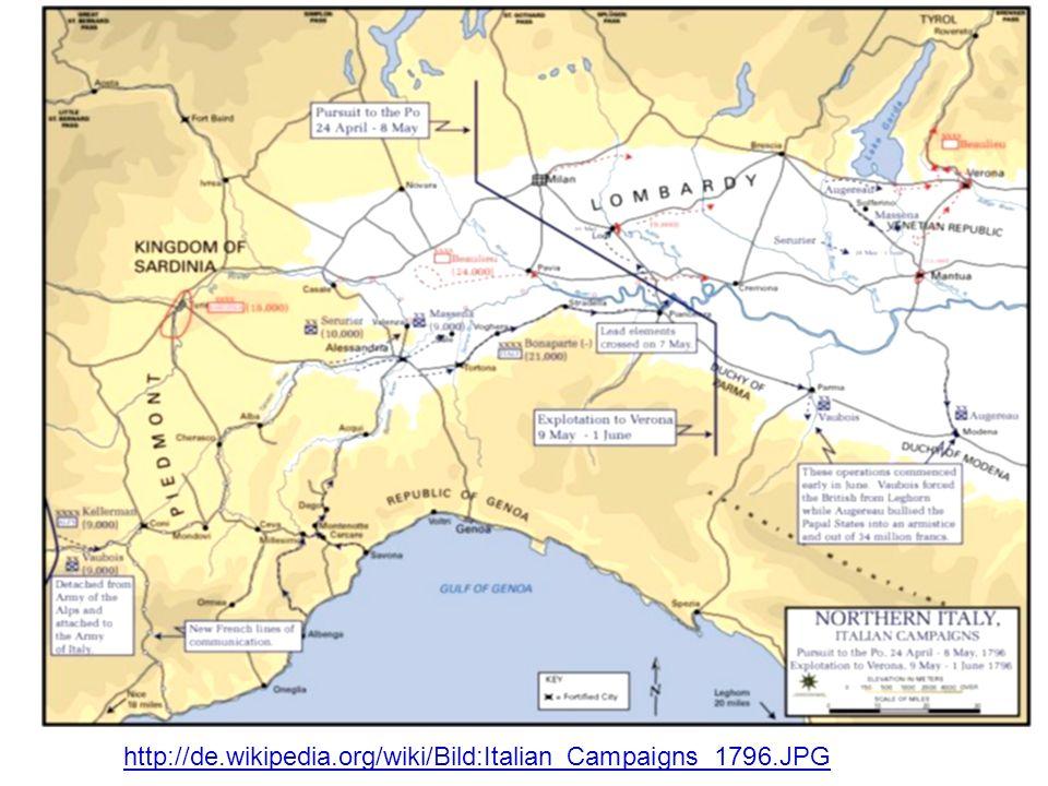 Privilegien Stände Kirche Legislative Montesquieu Republik Direktorium Napoleon Italien Karte http://de.wikipedia.org/wiki/Bild:Italian_Campaigns_1796