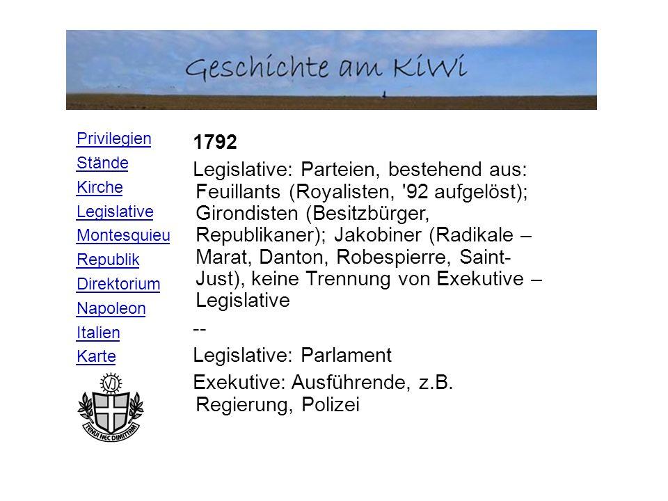 Privilegien Stände Kirche Legislative Montesquieu Republik Direktorium Napoleon Italien Karte Legislative (=diejenige Gewalt, Gesetze zu erlassen) Exekutive (=diejenige, öffentliche Beschlüsse auszuführen) Judikative (=diejenige, Verbrechen und private Streitigkeiten zu richten) N.b.