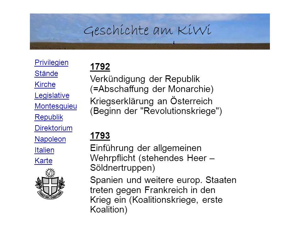 Privilegien Stände Kirche Legislative Montesquieu Republik Direktorium Napoleon Italien Karte 1792 Verkündigung der Republik (=Abschaffung der Monarch