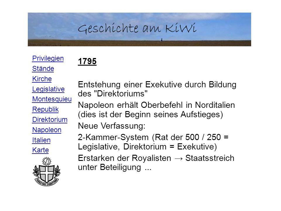 Privilegien Stände Kirche Legislative Montesquieu Republik Direktorium Napoleon Italien Karte 1795 Entstehung einer Exekutive durch Bildung des