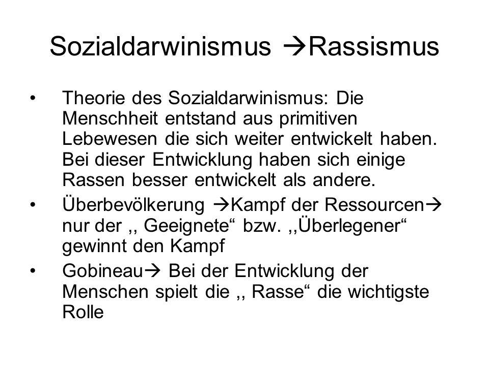 Sozialdarwinismus Rassismus Theorie des Sozialdarwinismus: Die Menschheit entstand aus primitiven Lebewesen die sich weiter entwickelt haben. Bei dies