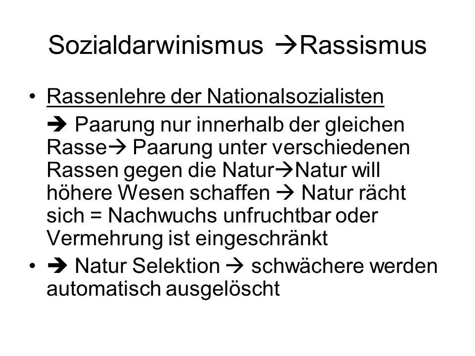 Sozialdarwinismus Rassismus Rassenlehre der Nationalsozialisten Paarung nur innerhalb der gleichen Rasse Paarung unter verschiedenen Rassen gegen die