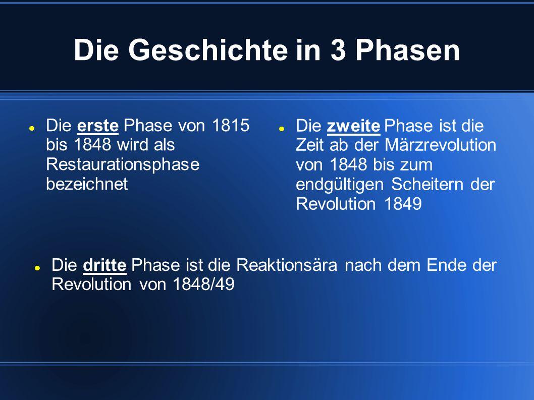 Die Geschichte in 3 Phasen Die erste Phase von 1815 bis 1848 wird als Restaurationsphase bezeichnet Die zweite Phase ist die Zeit ab der Märzrevolutio