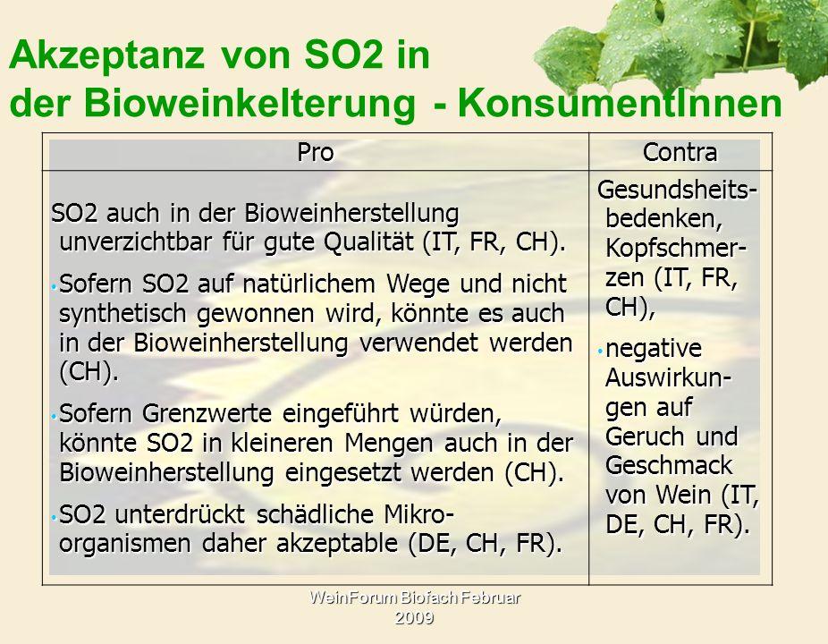WeinForum Biofach Februar 2009 Akzeptanz von SO2 in der Bioweinkelterung - KonsumentInnenProContra SO2 auch in der Bioweinherstellung unverzichtbar fü