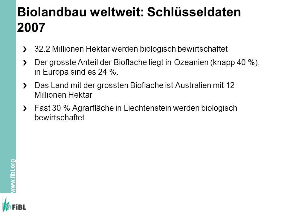 www.fibl.org Zunahme der Biorebflächen 2006/2007