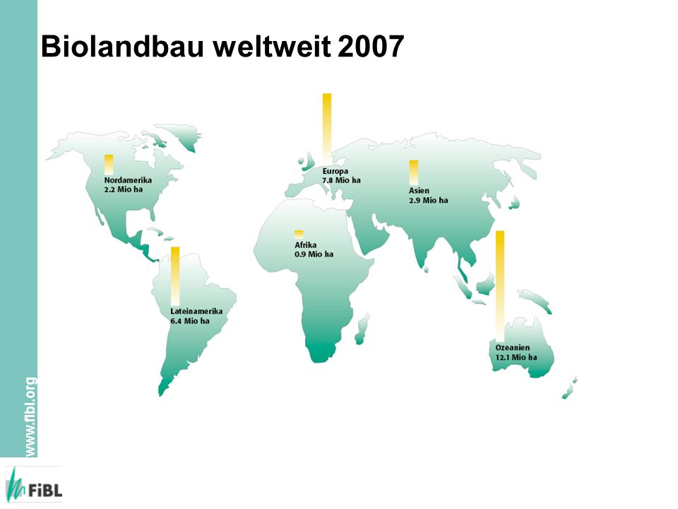 www.fibl.org Bodennutzung im Biolandbau weltweit Quelle: FiBL/IFOAM 2009