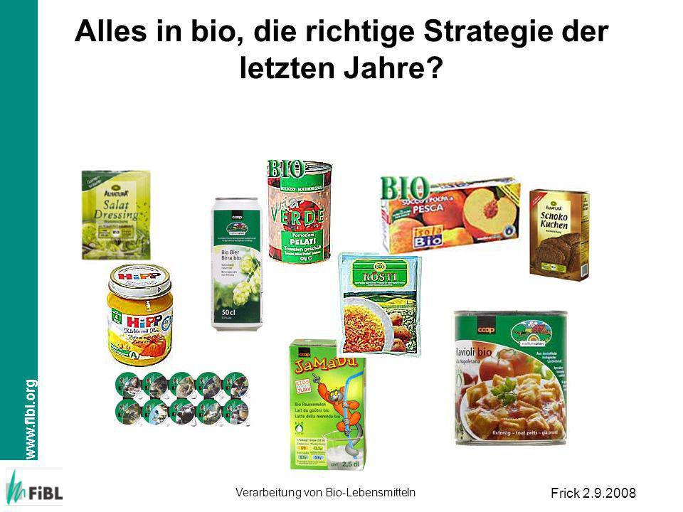 www.fibl.org Verarbeitung von Bio-Lebensmitteln Frick 2.9.2008 Alles in bio, die richtige Strategie der letzten Jahre