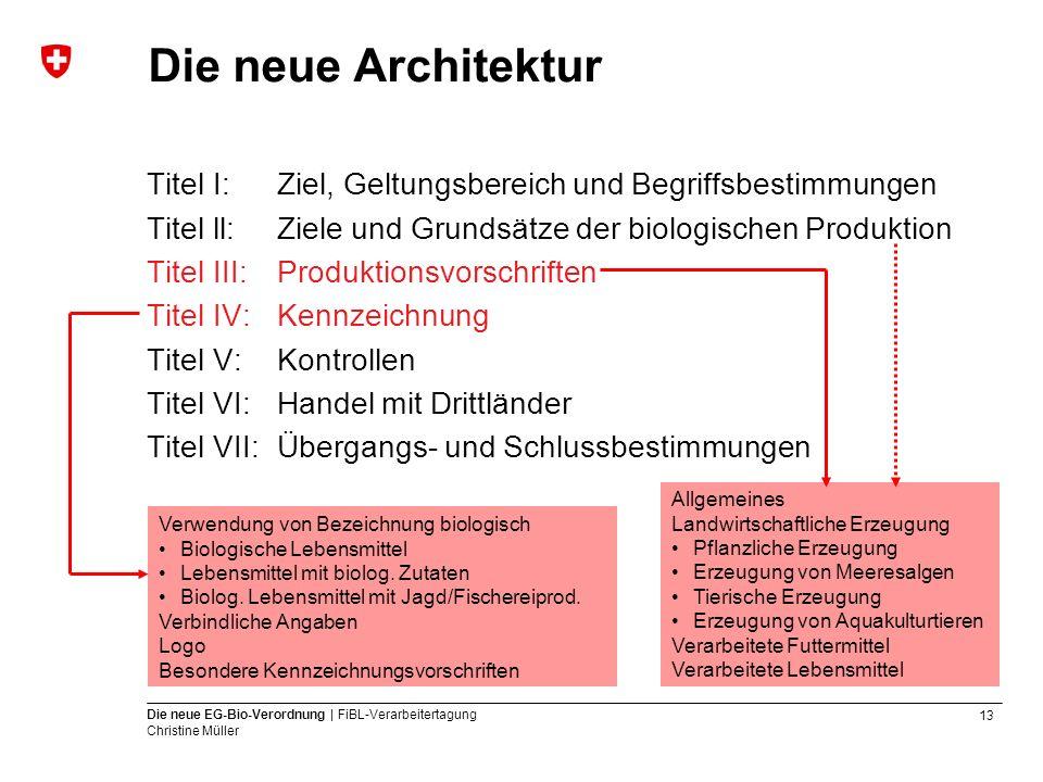 13 Die neue EG-Bio-Verordnung | FiBL-Verarbeitertagung Christine Müller Die neue Architektur Titel I: Ziel, Geltungsbereich und Begriffsbestimmungen T
