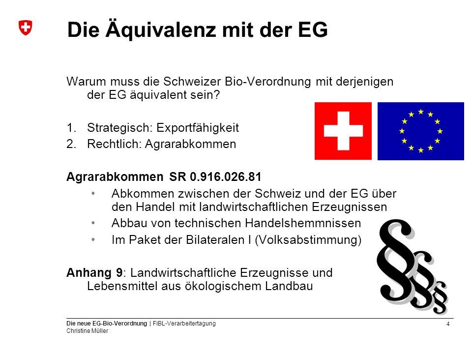 4 Die neue EG-Bio-Verordnung | FiBL-Verarbeitertagung Christine Müller Die Äquivalenz mit der EG Warum muss die Schweizer Bio-Verordnung mit derjenige