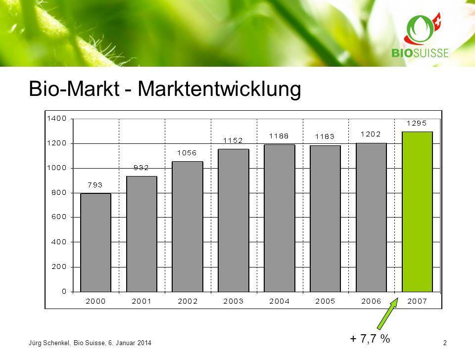 Jürg Schenkel, Bio Suisse, 6. Januar 20142 Bio-Markt - Marktentwicklung + 7,7 %