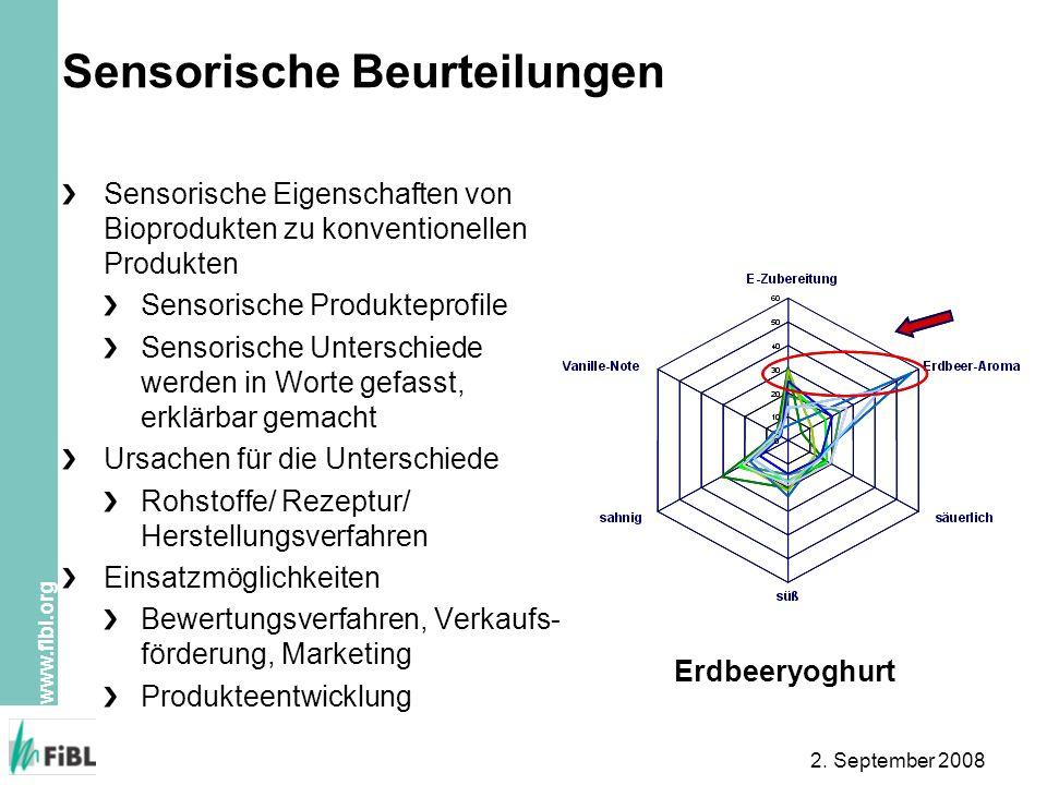 www.fibl.org 2. September 2008 Sensorische Beurteilungen Sensorische Eigenschaften von Bioprodukten zu konventionellen Produkten Sensorische Produktep