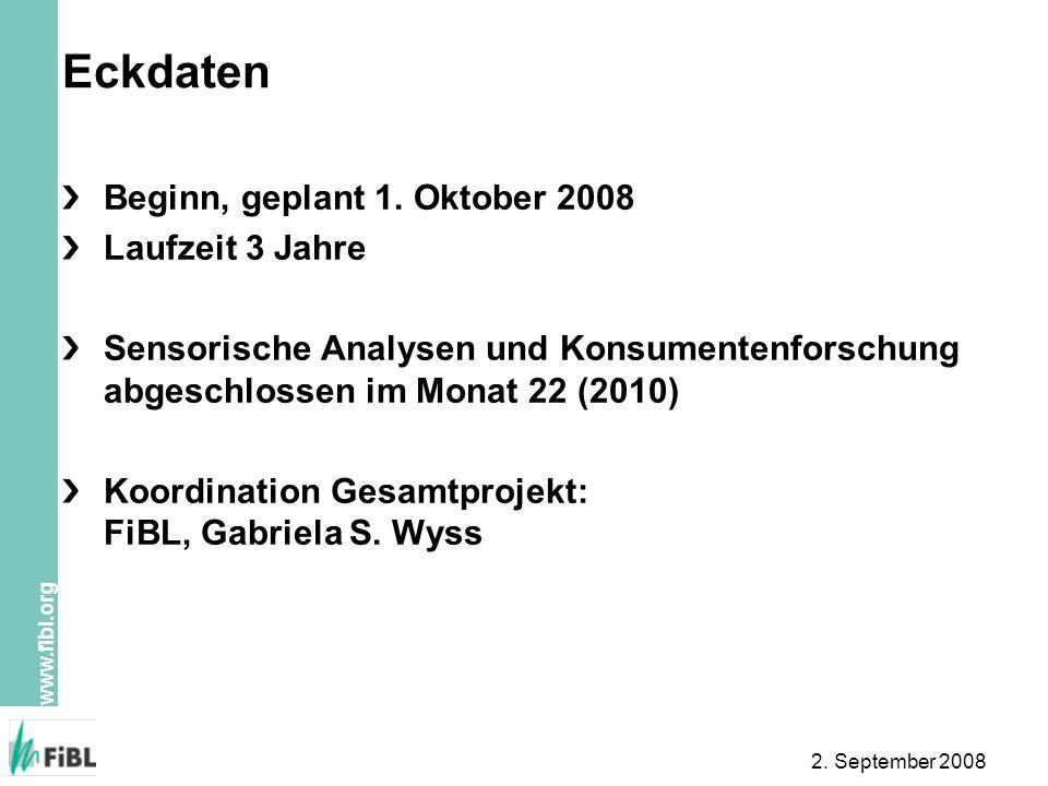 www.fibl.org 2. September 2008 Eckdaten Beginn, geplant 1. Oktober 2008 Laufzeit 3 Jahre Sensorische Analysen und Konsumentenforschung abgeschlossen i