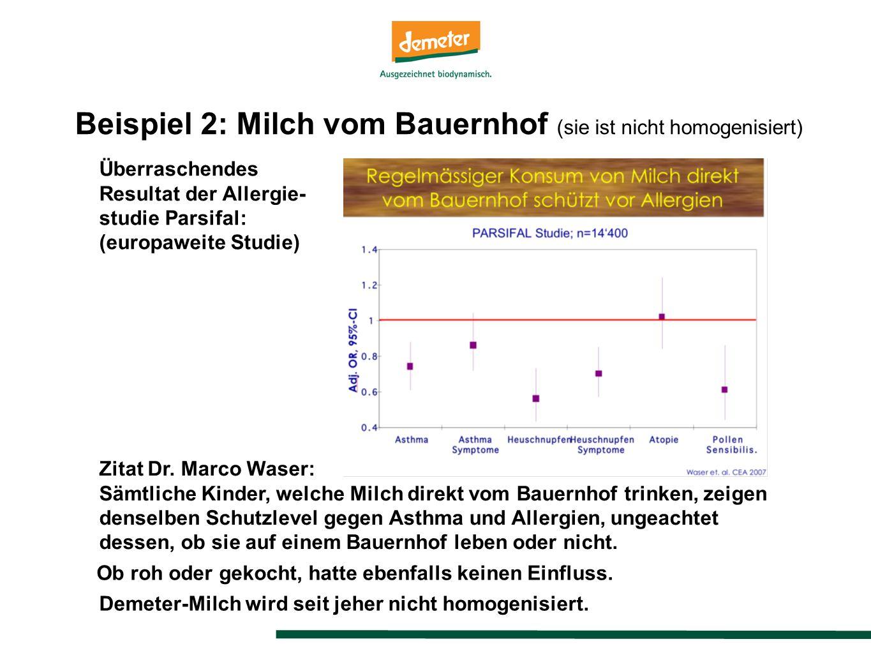 Beispiel 2: Milch vom Bauernhof (sie ist nicht homogenisiert) Überraschendes Resultat der Allergie- studie Parsifal: (europaweite Studie) Zitat Dr.