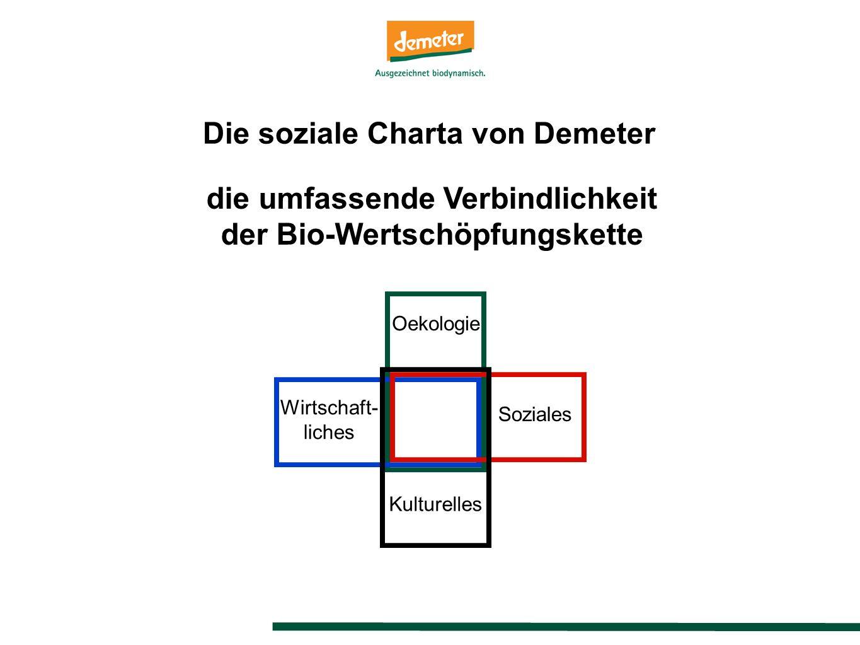die umfassende Verbindlichkeit der Bio-Wertschöpfungskette Oekologie Soziales Wirtschaft- liches Kulturelles Die soziale Charta von Demeter