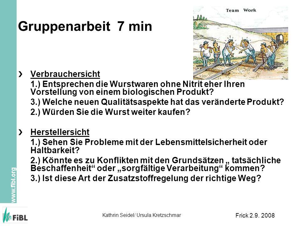 www.fibl.org Kathrin Seidel/ Ursula Kretzschmar Frick 2.9. 2008 Gruppenarbeit 7 min Verbrauchersicht 1.) Entsprechen die Wurstwaren ohne Nitrit eher I