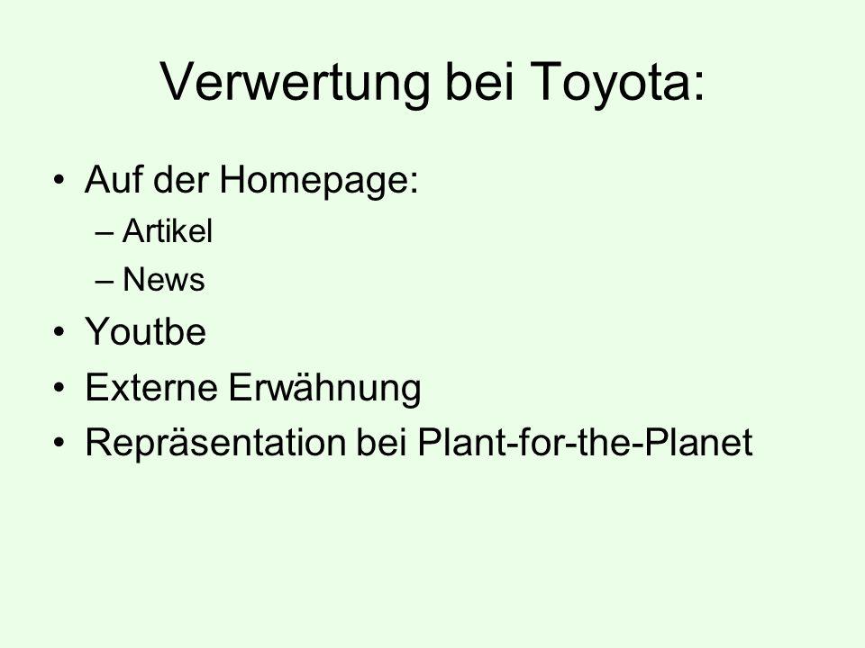 Verwertung bei Toyota: Auf der Homepage: –Artikel –News Youtbe Externe Erwähnung Repräsentation bei Plant-for-the-Planet