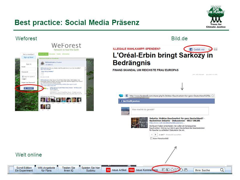 Best practice: Social Media Präsenz WeforestBild.de Welt online