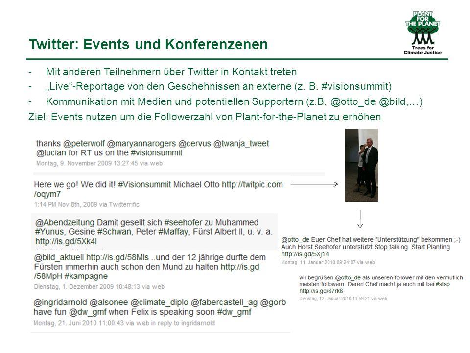 Twitter: Events und Konferenzenen - Mit anderen Teilnehmern über Twitter in Kontakt treten -Live-Reportage von den Geschehnissen an externe (z.
