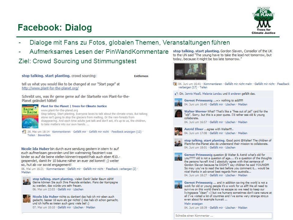 Facebook: Dialog -Dialoge mit Fans zu Fotos, globalen Themen, Veranstaltungen führen - Aufmerksames Lesen der PinWandKommentare Ziel: Crowd Sourcing und Stimmungstest