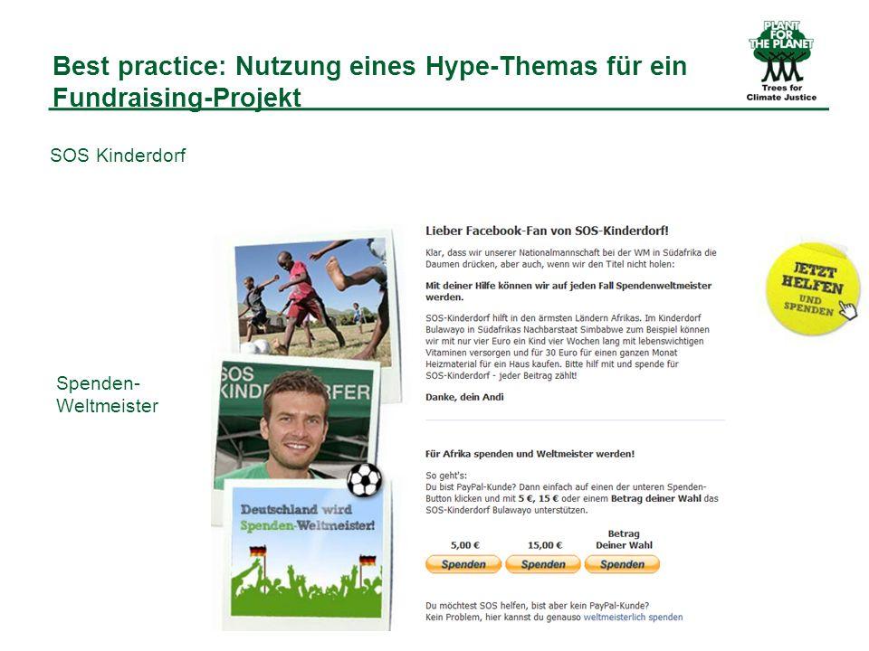 Best practice: Nutzung eines Hype-Themas für ein Fundraising-Projekt Spenden- Weltmeister SOS Kinderdorf