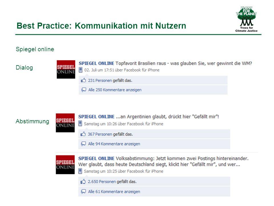 Best Practice: Kommunikation mit Nutzern Spiegel online Dialog Abstimmung