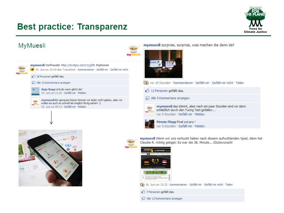 Best practice: Transparenz MyMuesli