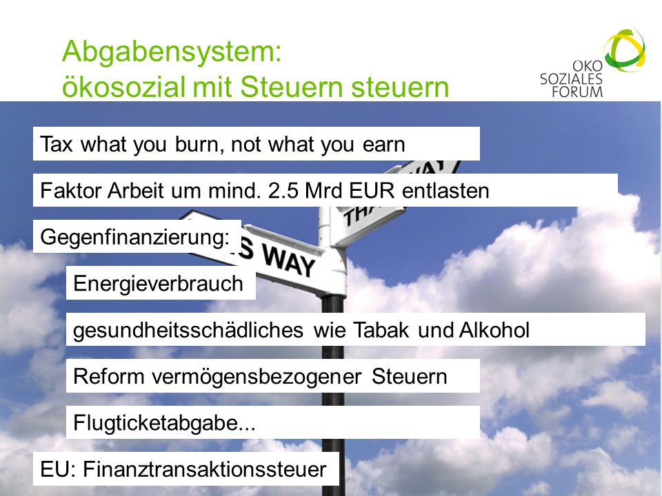 Abgabensystem: ökosozial mit Steuern steuern 13 Tax what you burn, not what you earn Faktor Arbeit um mind.