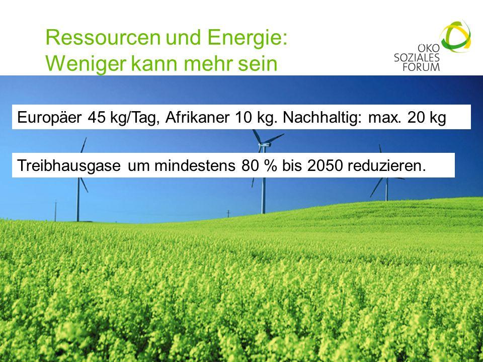 Ressourcen und Energie: Weniger kann mehr sein 14 Europäer 45 kg/Tag, Afrikaner 10 kg. Nachhaltig: max. 20 kg Treibhausgase um mindestens 80 % bis 205