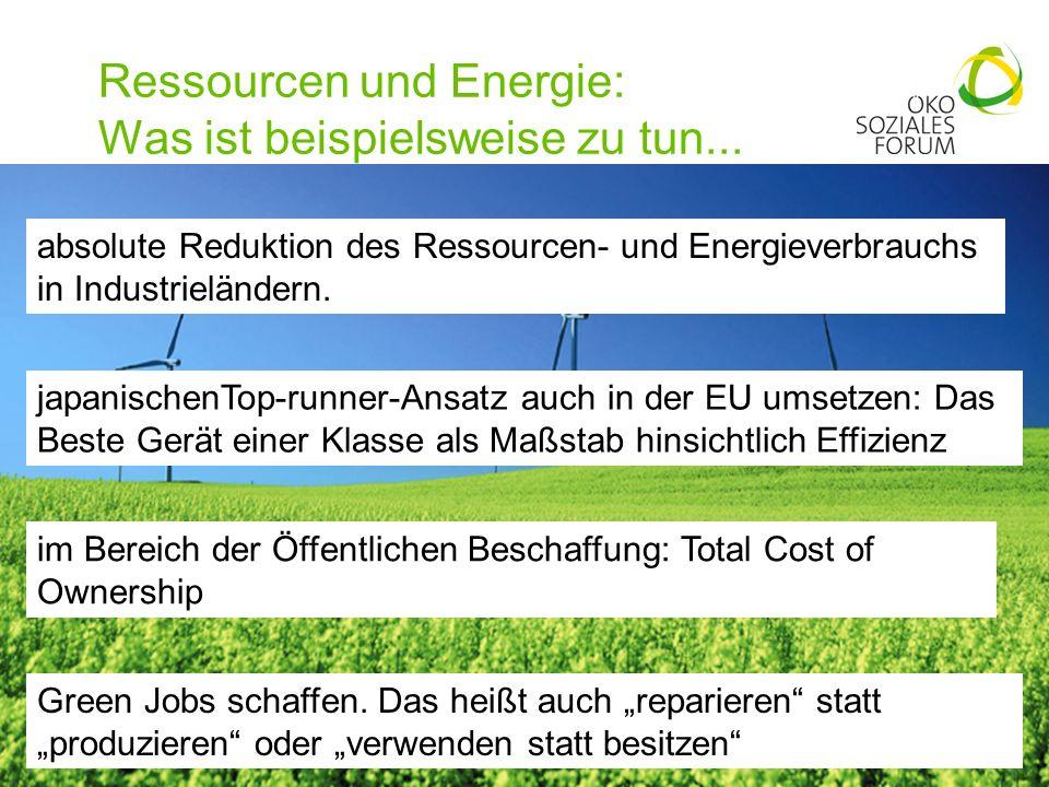 Ressourcen und Energie: Was ist beispielsweise zu tun... 15 absolute Reduktion des Ressourcen- und Energieverbrauchs in Industrieländern. japanischenT