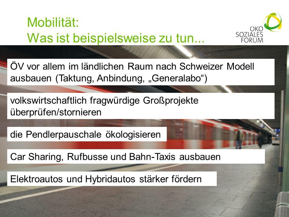 Mobilität: Was ist beispielsweise zu tun... 17 ÖV vor allem im ländlichen Raum nach Schweizer Modell ausbauen (Taktung, Anbindung, Generalabo) volkswi