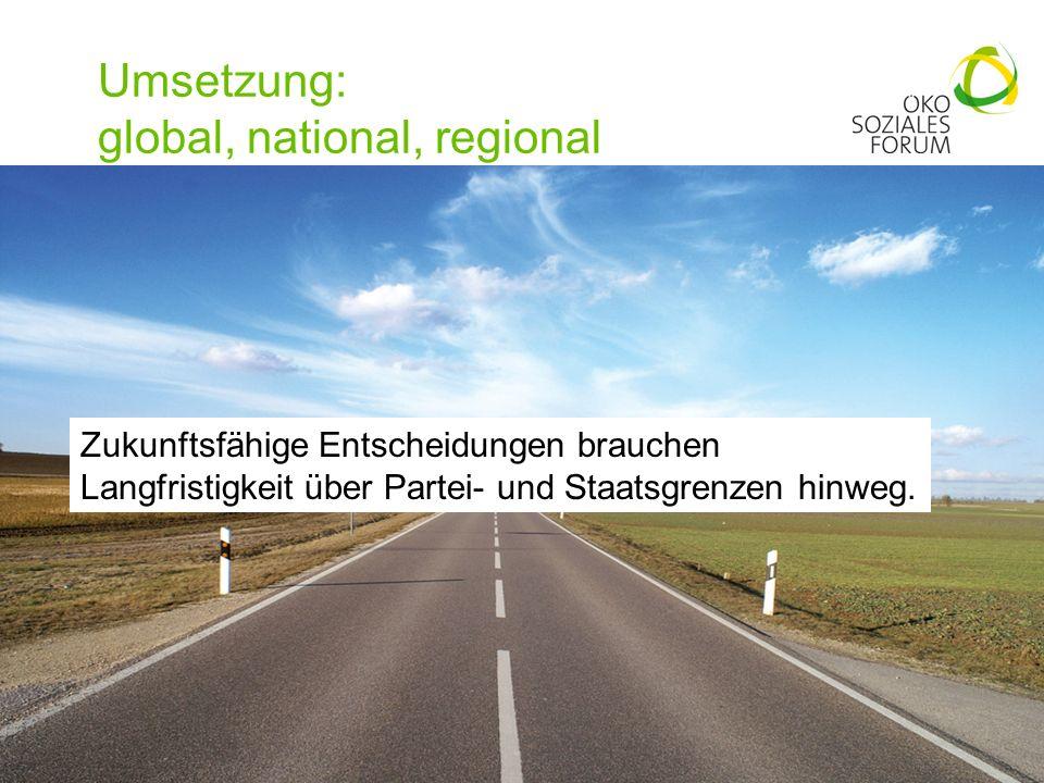 Umsetzung: global, national, regional 20 Zukunftsfähige Entscheidungen brauchen Langfristigkeit über Partei- und Staatsgrenzen hinweg.