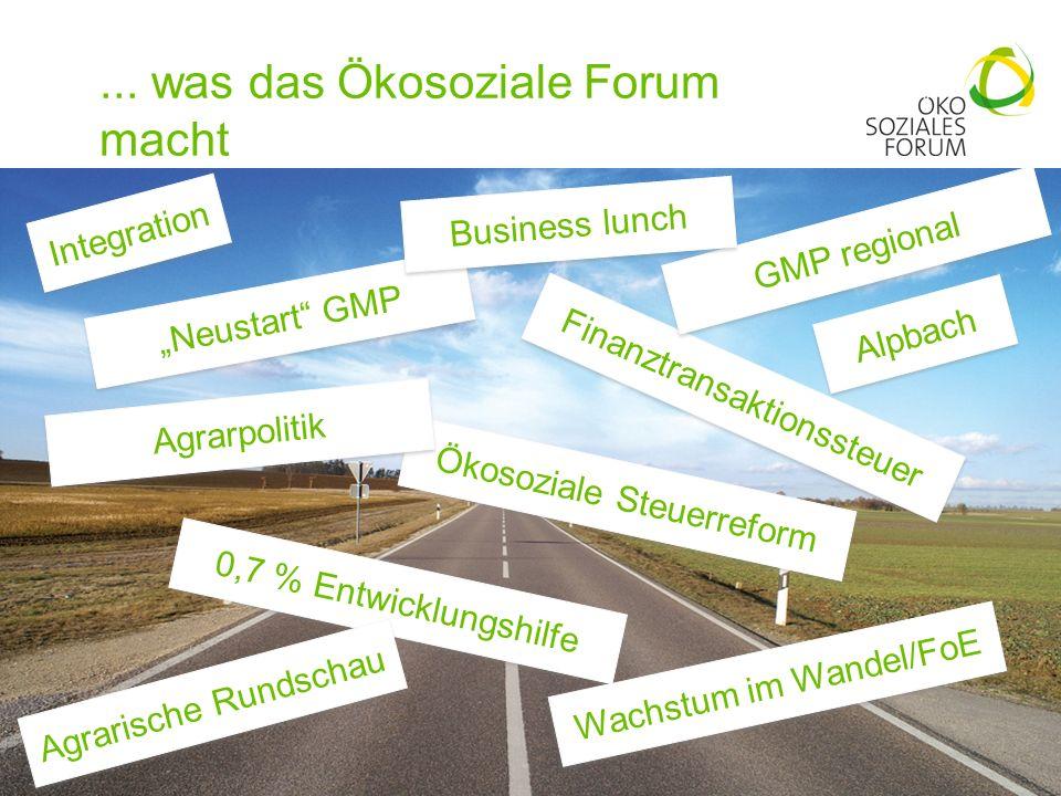 ... was das Ökosoziale Forum macht 23 Neustart GMP Finanztransaktionssteuer Ökosoziale Steuerreform 0,7 % Entwicklungshilfe Wachstum im Wandel/FoE Agr
