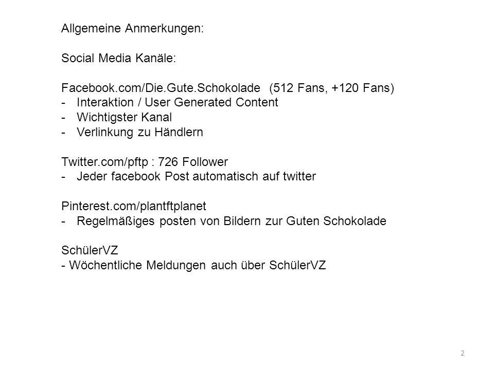 2 Allgemeine Anmerkungen: Social Media Kanäle: Facebook.com/Die.Gute.Schokolade (512 Fans, +120 Fans) -Interaktion / User Generated Content -Wichtigst