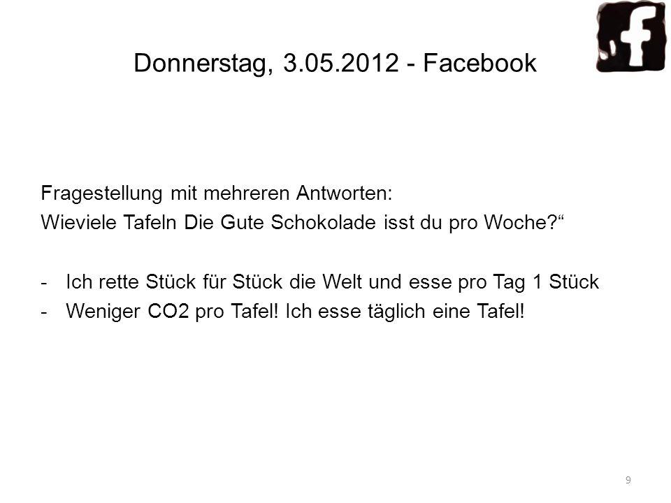 Donnerstag, 3.05.2012 - Facebook Fragestellung mit mehreren Antworten: Wieviele Tafeln Die Gute Schokolade isst du pro Woche? -Ich rette Stück für Stü