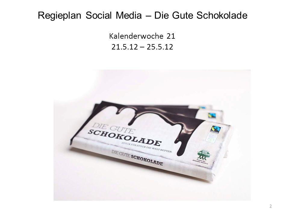 Regieplan Social Media – Die Gute Schokolade Kalenderwoche 21 21.5.12 – 25.5.12 2