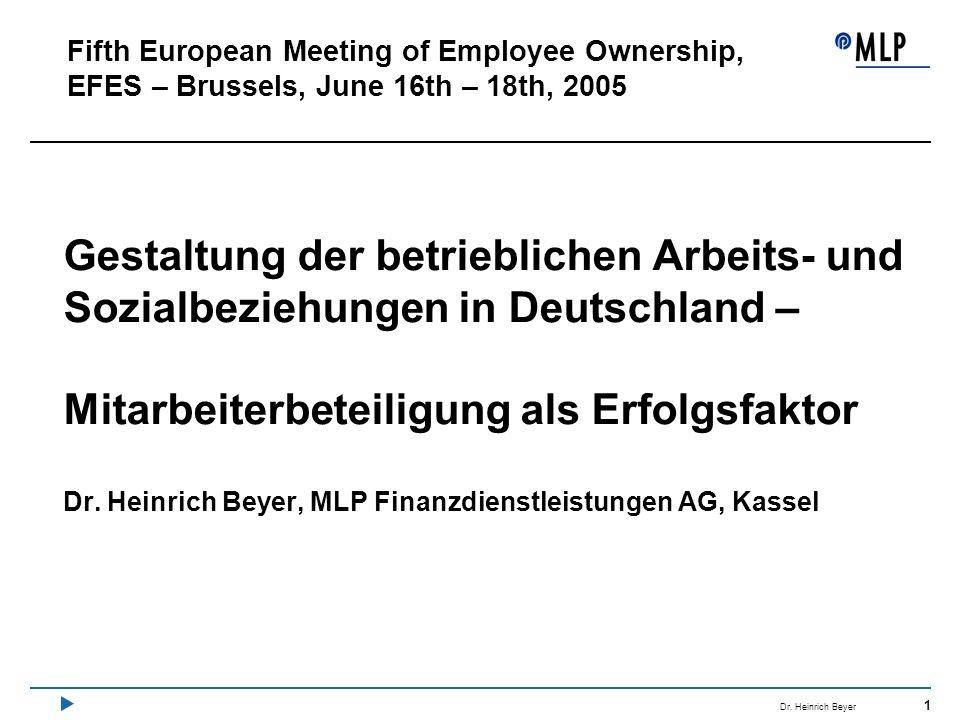 1 Dr. Heinrich Beyer Gestaltung der betrieblichen Arbeits- und Sozialbeziehungen in Deutschland – Mitarbeiterbeteiligung als Erfolgsfaktor Dr. Heinric
