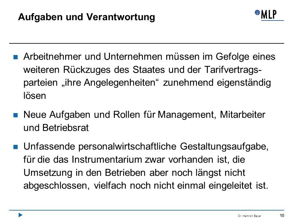 10 Dr. Heinrich Beyer Aufgaben und Verantwortung Arbeitnehmer und Unternehmen müssen im Gefolge eines weiteren Rückzuges des Staates und der Tarifvert