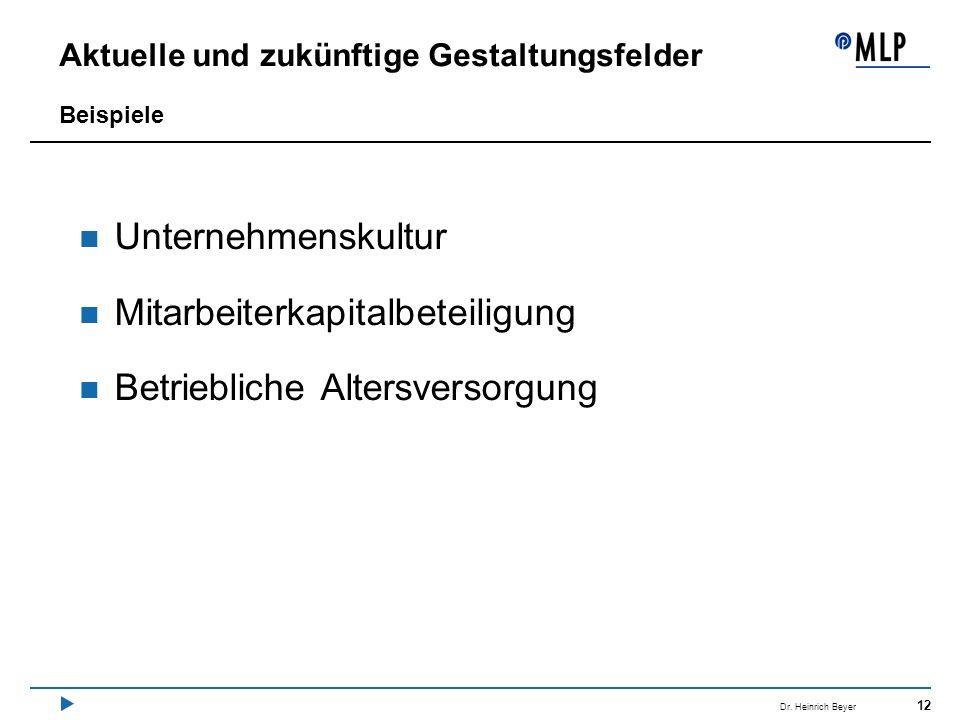 12 Dr. Heinrich Beyer Aktuelle und zukünftige Gestaltungsfelder Unternehmenskultur Mitarbeiterkapitalbeteiligung Betriebliche Altersversorgung Beispie