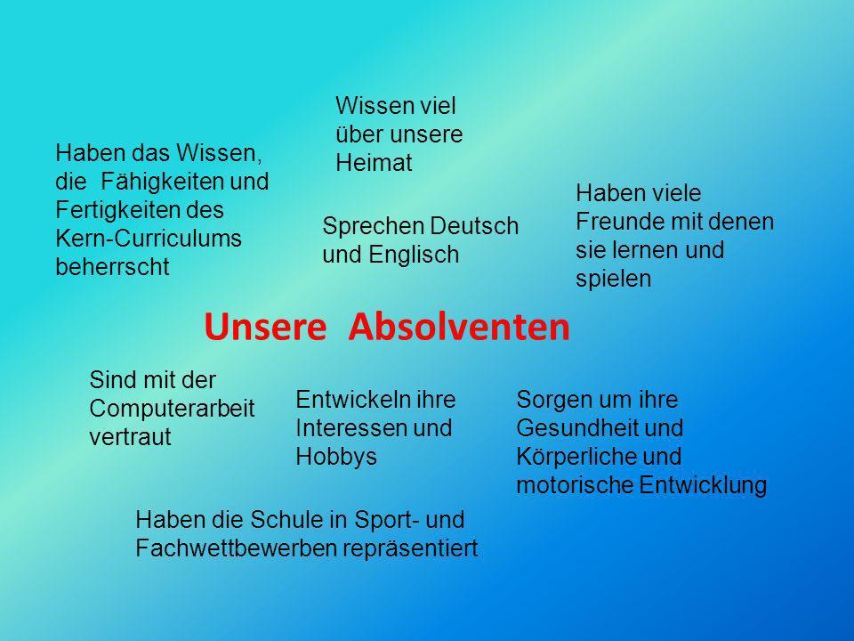 Unsere Absolventen Wissen viel über unsere Heimat Sprechen Deutsch und Englisch Sind mit der Computerarbeit vertraut Entwickeln ihre Interessen und Ho