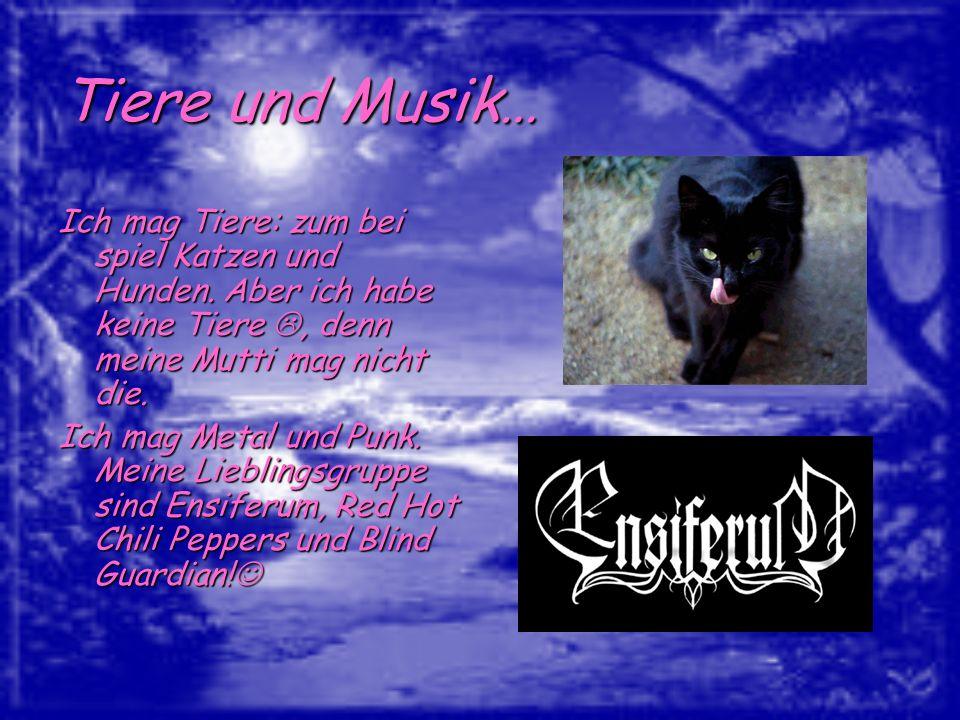 Tiere und Musik… Ich mag Tiere: zum bei spiel Katzen und Hunden. Aber ich habe keine Tiere, denn meine Mutti mag nicht die. Ich mag Metal und Punk. Me
